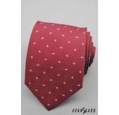 Červená pánská kravata s malými čtverečky - šířka 7 cm